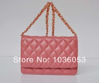 High Quality! Fashion Famous Brand c Genuine Leather Lambskin Handbag, Ladies channels WOC  Mini Pink, White Chain Bag cc 34