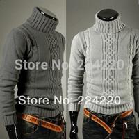Free shipping wholesale menswear boutique turtleneck sweater men irregularly twisted flower lapel long-sleeved sweater Slim