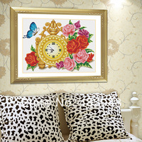 Rose watch stitch rose vase cross stitch print paintings wall clock cross stitch