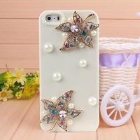 New Arrival Handmade Maple Leaf Rhinestone Case Cover for iPhone 4 4s case for iPhone 5 5s case Mobile Border Protection shell