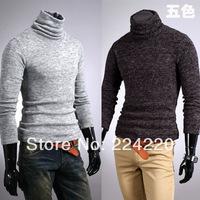 Free shipping wholesale menswear boutique California Rabbit plush knit long-sleeved turtleneck shirt bottoming male lapel Tshirt