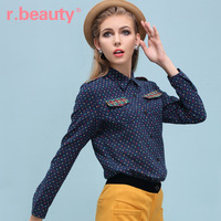 R . beauty women's spring vintage top turn-down collar long-sleeve shirt r13c2135
