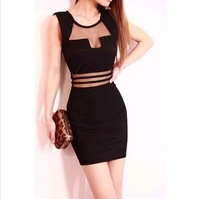 2014 new women's nightclub sexy low-cut openwork mesh perspective Slim Dress wholesale drop shipping ladies casual dress