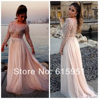 2014 Free Gift Beaded Elie Saab Prom Dresses Sheer Scoop Neck Long Sleeves A-Line Floor-Length Chiffon Evening Gown Dress JY1215