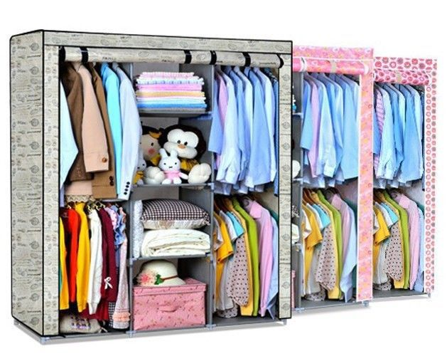 Free Shipping! Super Large Folding Clothes Garment Storage Portable Wardrobe Organizer Closet Rack New 6 Colors Available(China (Mainland))