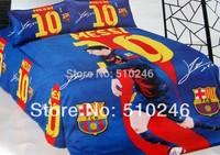 free shipping 100%cotton children boy FCB Barcelona Messi 10 red football printed 3pcs flat sheet set quilt cover bedding set