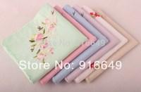 100% cotton women Hanky/Handkerchief,  Embroidery flower, six colors