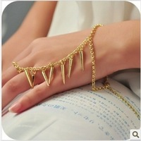 Min. order $10 (mix order) Han edition men and women fashion punk wind gold texture rivet nail tip tassel bracelet chain ring