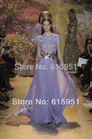 2014 Zuhair Murad Evening Gowns Sheer Bateau Neck Cap Sleeves Lace Applique A-Line Long Lavender Chiffon Prom Dress JY1217