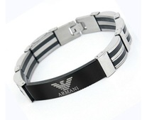 Men's Titanium Stainless Steel Silicone Wristband Bracelets