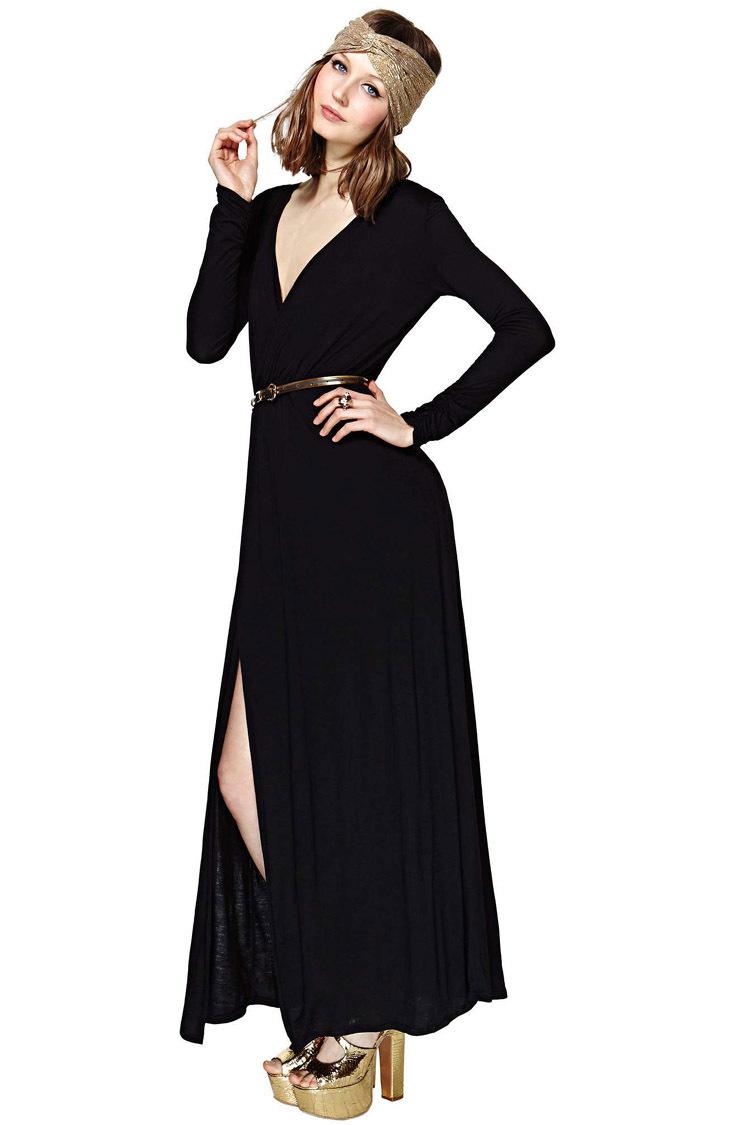 Cool Buy New Design Elegant Long Evening Dress 2015 White Chiffon V Neck
