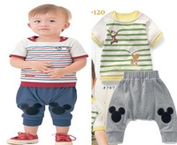 DHL EMS Free shipping baby boysToddlers Gentlemen Stripe 2pc Suit T shirt +  harem Pants Casual wear Outfit Children Clothes