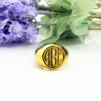 Engraved Rings Personalized 3 Monogram Circle Block Initials Customized Monogrammed Gold Ring 0.59