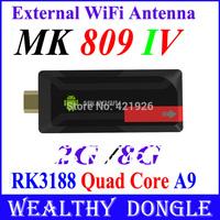 MK809 IV Quad core Rk3188 Android 4.2.2 Mini PC TV Box 2GB/8G HDMI TV Player,Support Wifi