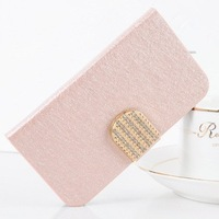 Luxury Silk Grain Leather Case For iPhone 5s 5 With Rhinestones Metal Buckle Cover