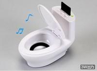 New 2014 Fashion Creative Toilet Shape Mini Speaker Boombox Jambox Amplifier MP3 Player Music Box with TF Slot White