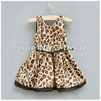 Baby Girls Leopard Cotton Dress Patchwork Belt Princess Dresses girls leopard dress 2 3 4 5 6 7 8 years