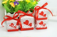 100pcs/lot square red candy box hollow heart white cardboard paper wedding favour box party candy box favor gift