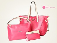 Luxury Three-Piece Set Handbag Bags Pu Leather Big Vintage Bags Bag-In-Bag Betty Handbag For Women's Black/Yellow/Rose Red
