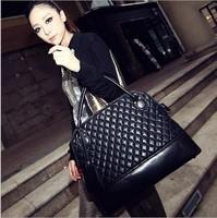 New 2014 Women PU Leather Handbags brand fashion Rhombus plaid shoulder bags vintage women's big tote bag KN036