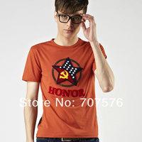 O-neck embroidered logo fashion five star pattern 100% cotton short t-shirt male t-shirt casual t-shirt