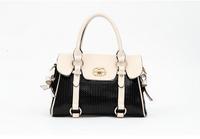 Luxury Bowknot Handbag: Bag Pu Leather Large Brand Hand Bag Bowler Printing Handbag For Women Black/Yellow/Rose Red/Watermelon