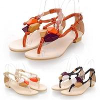 Fashion Summer Bohemia Style Rhinestone Embellished Thong Girl Woman's Sandal Flats Shoes 3Colors 15962