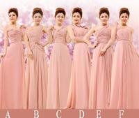 Free Shipping, 2014 New Arrival Bridesmaid Long & Short Dress 6 Designs Tube Top Chiffon Long Formal Wedding Party Dress, PD0087