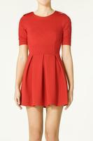 Hot Sale Summer Ms. Shoulder strap Pendulum fold umbrella dress Woman Tall waist half sleeve dresses