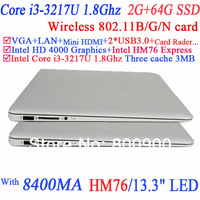 13.3-inch WSVGA LED backlit LCD screen Laptop with Intel Core i3-3217U 1.80GHz 8400mAH battery 2G RAM 64G SSD Windows or Linux