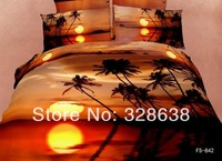 Romantic sunset coconut tree beach bedding sets for kids adults plush comforter/bed cover set bedsheet bedclothes bed linen 3d