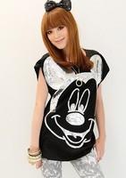 Women summer tees Fashion tops 2014 short sleeve shirt for women Mouse t-shirts free shipping