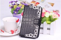 Luxury bling pu leather case for LG OPTIMUS L3 E400 E405,Corner drill Diamonds Flip cover with card holder