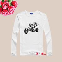 man spring 2014 cotton & lycra punk printed long sleeve o-neck men's shirts
