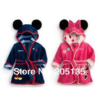 2014 new Hot selling Baby boys girls Minnie Mickey bathrobe soft Children kids bath towel toddler hooded bath beach towel