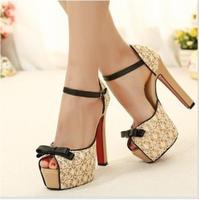 Free shipping women high square heel platform pump shoes big size lace women pumps summer red bottom WP010