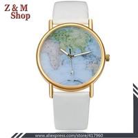 2014 women dress watches,leather strap watches ladies quartz watch women luxury wristwatch world map relogios montre femme gold