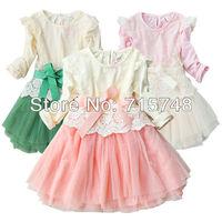 3-6 ages free shipping hot sale 2013 new autumn-summer long-sleeve Princess chiffon lace bowknot girl dress pink green apricot