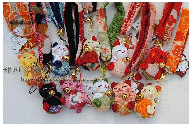 MANEKI NEKO BELL CHARMS Lucky Japanese Cat Cell Phone Strap 300pcs/lot big wholesales promotions fedex fast beautiful bell sound(China (Mainland))
