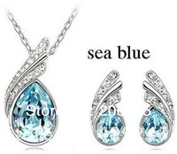 Fashion New Leaf  Jewelry Sets Water Drop Jewelry sets Necklace/Earrings Crystal Jewelry For Wedding/Party