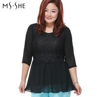 Msshe plus size clothing 2014 slim chiffon shirt three quarter sleeve lace chiffon top