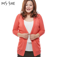 Msshe plus size clothing 2014 spring high elastic sweater cardigan medium-long sweater thin outerwear