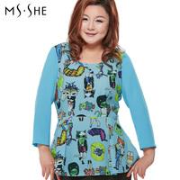 Msshe plus size clothing 2014 spring fashion o-neck print pleated sweep t-shirt slim waist