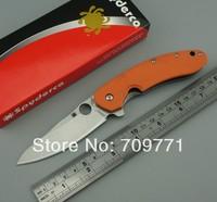 spyderco C156 9cr13mov blade stonewash camping knife orange G10 handle folding knife 58HRC pocket knife FREE SHIPPING