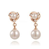 A343  Genuine Austrian crystal crystal pearl gold plated wedding earrings brand three  2020018215  B6