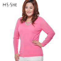 Msshe plus size clothing 2014 spring basic o-neck long-sleeve shirt gauze T-shirt slim waist
