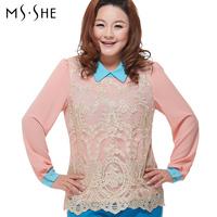 Msshe plus size clothing 2014 spring slim waist color block cutout lace shirt
