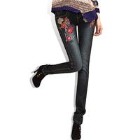 Joinus spring national 2014 trend embroidered skinny jeans female denim black pencil pants slim fashion design