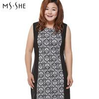 Msshe plus size clothing 2014 spring o-neck color block print vest one-piece dress slim waist fashion