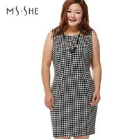 Msshe plus size clothing 2014 spring o-neck slim waist houndstooth fashion one-piece dress